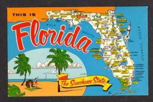 FL State Map FLORIDA Postcard PC Bradenton Ocala Starke Miami Jacksonville