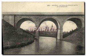 Old Postcard Bayeux Viaduct La Cathedrale is Reflecting In The Aure