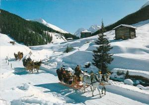 Switzerland Davos Schlittenfahrt Im Sertigtal