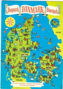 Denmark, Map, 1987 used Postcard