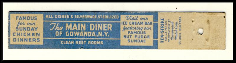 Vintage Gowanda, New York/NY Mini-Matchcover, The Main Diner