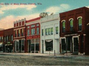 Tomah Wisconsin West Side of Main Street Van Wie Postcard