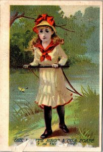1898 Girl Pulling Washing Powder Lautz Bros Co - VICTORIAN SOAP TRADE CARD