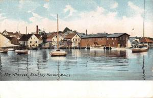 Boothbay Harbor Maine Wharves Harbor Boats Antique Postcard K12128