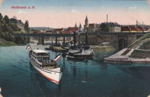 HEILBRONN, Baden-Wurttemberg, Germany, 1900-1910's; Boats, Bridge