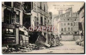 Old Postcard Verdun Rue Beaurepaire after the bombing Army