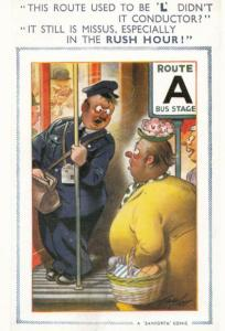 Lady Trying To Get Bus Conductor To Board Learner Plate Comic Humour Postcard