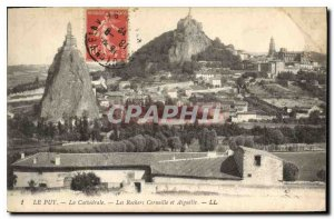 Old Postcard Le Puy The Cathedral Rocks and The Crow Aiguilhe