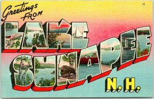WEST SUNAPEE, New Hampshire Large Letter Postcard Tichnor Linen 1945 Cancel