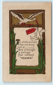 ARTS & CRAFTS Style STORK BABY Arrival c1910s Beautifully Printed Postcard