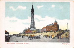 Vintage c1900's Postcard Hand Coloured BLACKPOOL Tower from the Beach