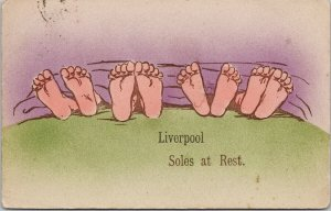Liverpool Soles At Rest Liverpool England Feet Sleeping Cynicus Postcard E91