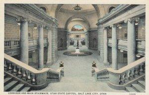 SALT LAKE CITY, Utah, 1900-10s; Corridor and Main Stairways, Utah State Capitol