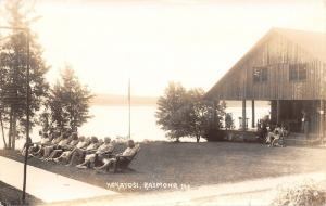 Raymond Maine~Kokatosi Campground Cabin~Maile In Front of Porch Now 1942 RPPC