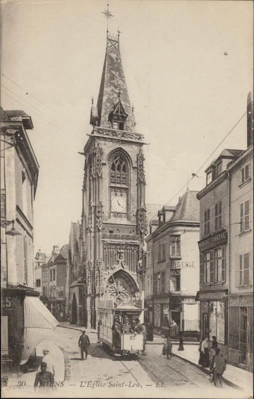 Amiens Eglise Saint Leu tramvay tower clock