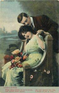 Postcard couple romantic lovers love idyll kiss romance fancy fashion bench