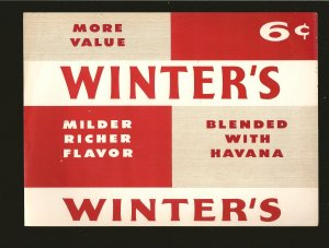 Vintage Winters 6C Milder Richer Flavor Cigar Box Label 9x6-1/2 Inches