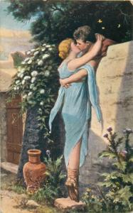 H. Hirsch - Les fleurs de mur Flowers Wall Romantic Lovers Couple Kiss Love 1914