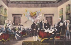 Signing Of The Declaration Of Independence by John Trumbull Handcolored Alber...