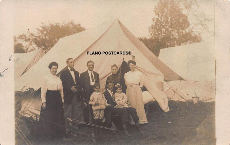 EARLY 1900'S CAMP SCENE RPPC REAL PHOTO POSTCARD