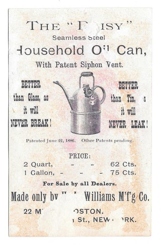 Victorian Trade Card Daisy Household Oil Can Williams Mfg NY Bufford Lithograph