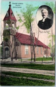 Salina, Kansas Postcard SWEDISH LUTHERAN CHURCH Hand-Colored c1910s Unused