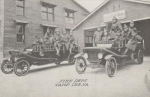 CAMP LEE, Virginia, 1910-20s; Fire Dept. , Men on Fire Trucks