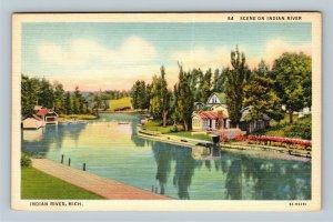 Indian River MI, Scene On Indian River, Linen Michigan Postcard