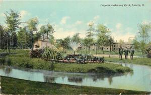 Lorain Ohio~Trio of Men Stand by Fountain in Lagoon in Oakwood Park 1910