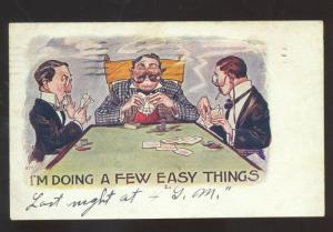 DOING A FEW EASY THINGS PLAYING POKER GAME COMIC POSTCARD STRAIGHT CREEK KANSAS