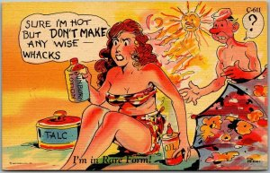 1940s RAY WALTERS Comic Postcard Beach I'm in Rare Form Curteich Linen C-611