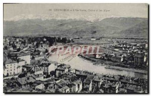 Old Postcard The Green Island Grenoble Isere and the Alps