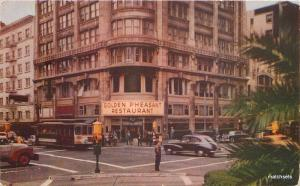 1940s Restaurant Trolley Golden Pheasant San Francisco California postcard 9081