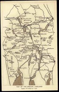 cumberland, English Lake District Map Postcard (1930s)