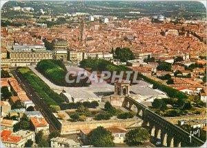 Postcard Modern Montpellier Herault Aerial view of Arches of Peyrou Gardens