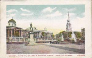 National Gallery & Gordons Statue, Trafalgar Square, London, England, UK, 190...