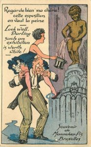 Artist impression C1910 Woman man's shoulder hat peeing statue Postcard 21-10624