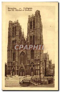 Old Postcard From Brussels Collegiate SS Michael and Gudula