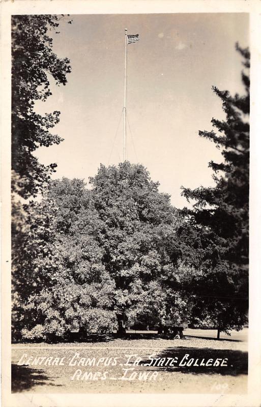 Ames Iowa~Iowa State College-University~Central Campus~Flag~1940s RPPC
