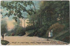 John Ball Park Drive Grand Rapids Michigan MI Postcard 1911 Baldwin