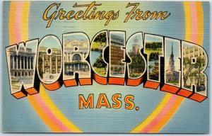 WORCESTER, Massachusetts Large Letter Postcard - Tichnor Linen 1943 Cancel
