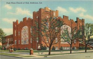 Anderson Indiana~Park Place Church of God~1940 Linen Postcard