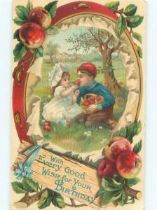 Pre-Linen GIRL AND BOY EATING APPLES UNDER THE TREE AC1637