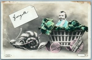 PHOTOMONTAGE SNAIL CARRIAGE BABY ANTIQUE REAL PHOTO POSTCARD RPPC