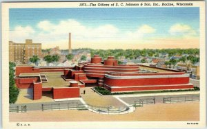 Racine WI Postcard Offices of S.C. Johnson & Son Frank Lloyd Wright Bldg Linen