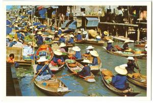 Thailand, Floating Market, unused Postcard