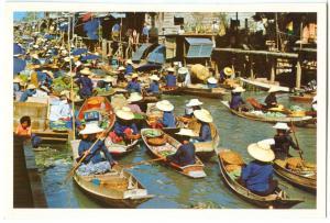 Thailand, Floating Market, unused Postcard