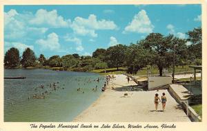 Winter Haven Florida~Lake Silver-Municipal Beach~Bathing Beauties Walking~c1960