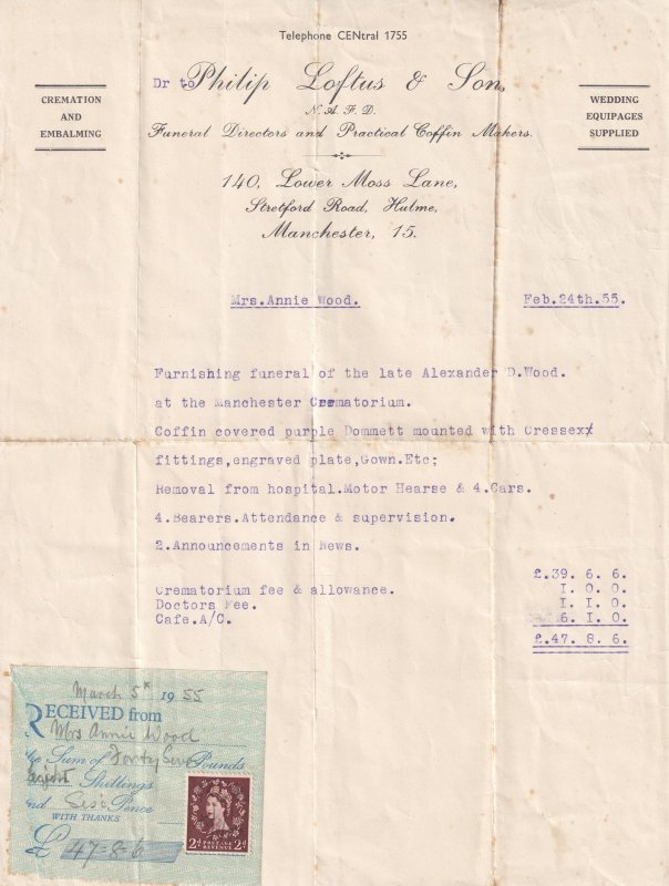 Hulme Funeral Company Manchester 1955 Receipt Letter