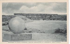 Train & Monument to David Thompson, English Geographer, Verendrye, ND, 1910-20s